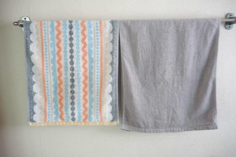 8年タオルとその他のタオルの比較写真