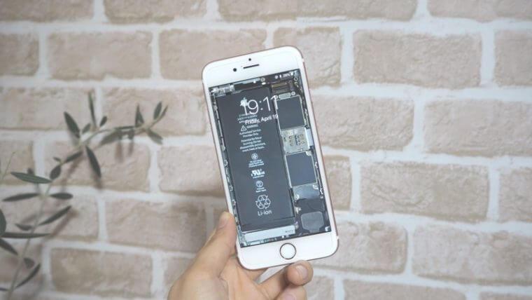 スケルトン壁紙を設定したiPhone 6s